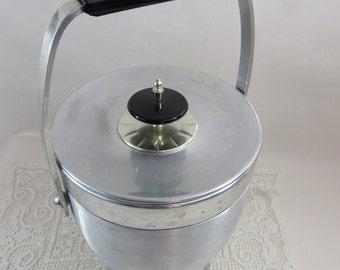 Vintage Ice Bucket, Mid Century Ice Bucket, Vintage Silver Ice Bucket, Kromex Ice Bucket, Black & Silver Aluminum Ice Bucket, Retro Bar