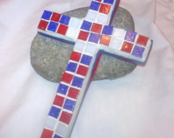 Mosaic Red White Blue Hanging Handmade Cross