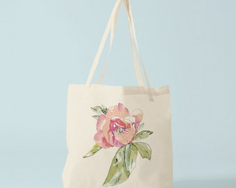 Tote bag, Watercolor Rose, cotton bag, reusable fabric bag, fabric shopper, novelty gift, gift for coworker, gift woman, bambouchic paris.