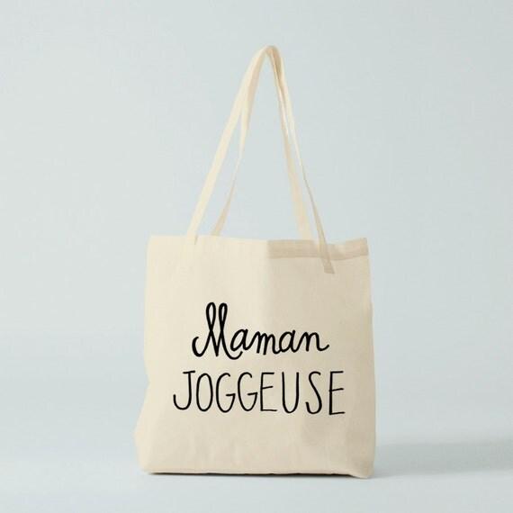 Tote bag Maman Joggeuse, Novelty gift, humour bag, fun bag, gift for coworker, groceries bag, shopper bag, running mama.