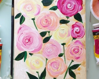 Abstract Flower Painting by Michelle Mospens - Floral Painting, Canvas Art, Abstract Flower Art, Flower Painting, Abstract Paintings 8 x 10