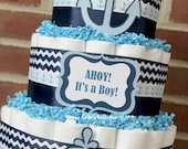 3 Tier Nautical Diaper Cake, Ahoy It's A Boy Baby Shower, Nautical, Sailboat, Anchor, Nautical Baby Shower, Baby Shower Centerpiece, Whale