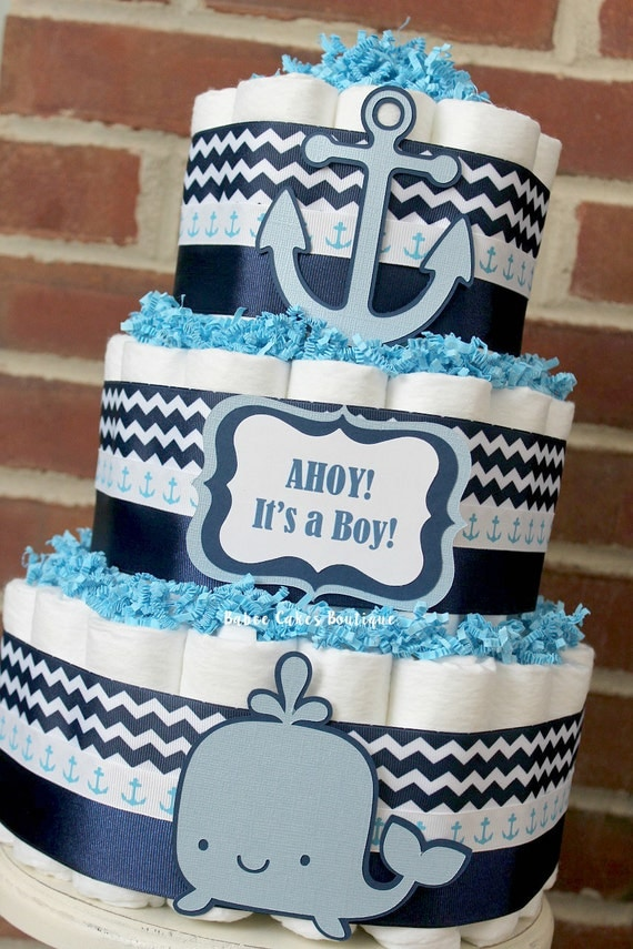 3 Tier Nautical Diaper Cake Ahoy It S A Boy Baby Shower