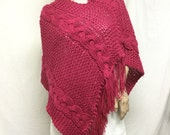 Knit Poncho,Cable knit Poncho ,Pink, Red ,Fringed poncho, Medium,Free shipping