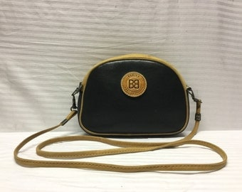 Babila Italy, Leather Shoulder Bag, Made in Italy, Black Leather Purse, Brown Trim, Free US shipping