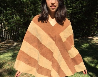 Suede leather poncho, poncho top, brown diagonal stripe, small
