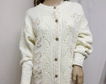 Sueters Knit Cardigan Sweater, Cream, Pastels ,woven ribbons,Vintage Buttons, Medium,Large