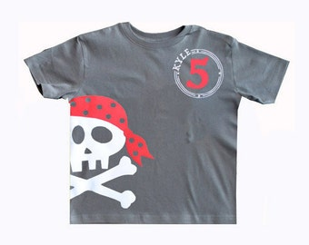Pirate Birthday Shirt, pirate party, pirate birthday, pirate invite, Boys Tee Skull and Crossbones, Pirate shirt