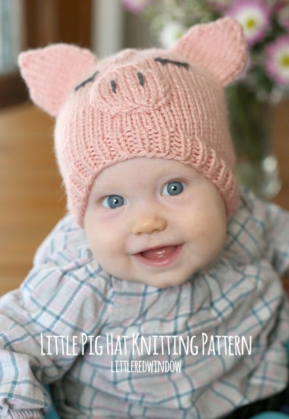 Knitting Pattern Baby Hat 12 Months : Little Pig Hat Baby KNITTING PATTERN - knit pig hat ...