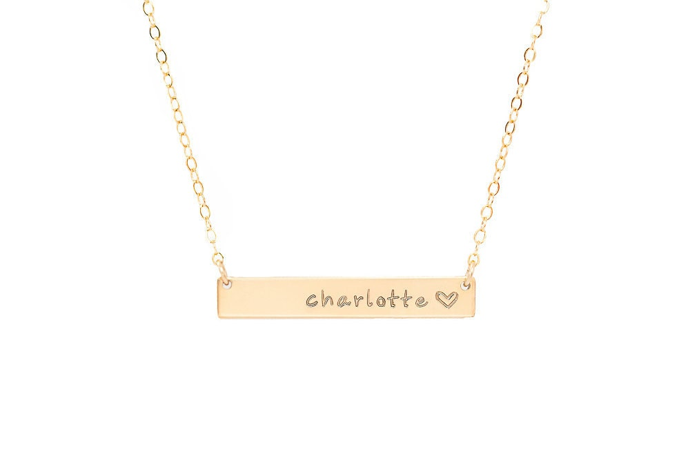 personalized gold bar necklace gold engraved by