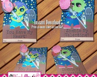 Cute Zombie Love Valentines Card Zombie Gift Anniversary