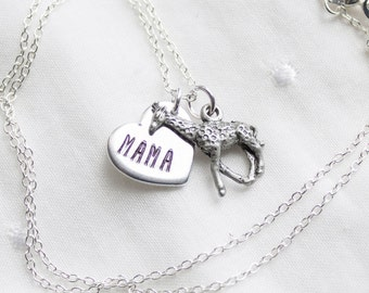 Mama Giraffe Necklace - Silver Mama Giraffe Jewelry - Gift for Mom Necklace - Mother Giraffe Gift for Christmas Gift cyber monday sale