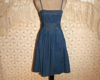 Spaghetti Strap Denim Dress 90s Vintage Denim Midi Full Skirt Dress Summer Dress 1990s Size 2 Dress Size 4 Dress XS Small Womens Clothing