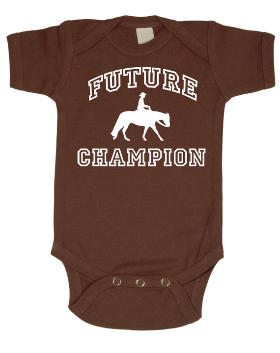 Future Western Champion Baby Horse Onesie for Infant Boys, Girls, and Surprises - Baby Shower Gift - Equestrian Clothing