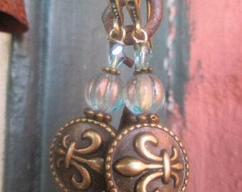 Handmade Earrings with Fleur de Lie Coin Beads and Czech Glass Beads
