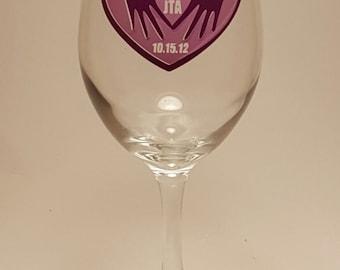 Loving Heart Wine Glass Personalized Custom Cheap Wedding Favors