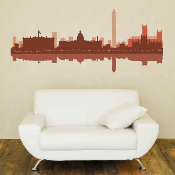 Washington dc skyline wall decal city shadow art vinyl for Good look chicago skyline wall decal