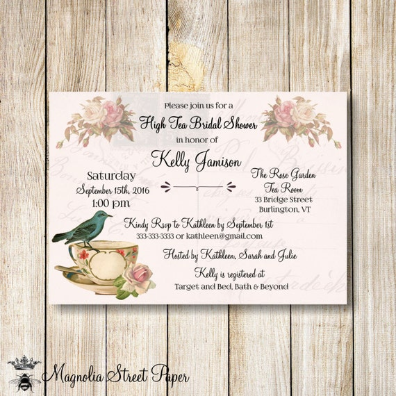 High Tea Bridal Shower Invitation Bridal Tea Party Invitation