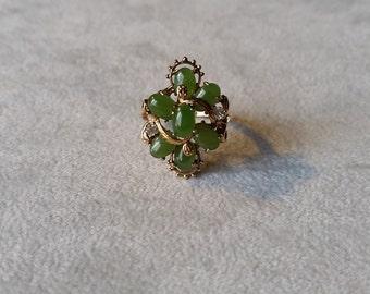 Green Jade Cluster Ring