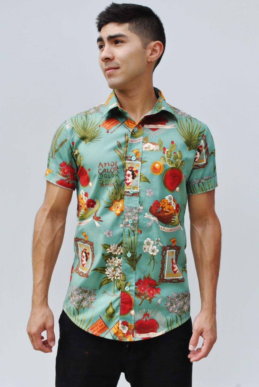 Teal frida button up shirt men 39 s button up for Mens teal button down shirt