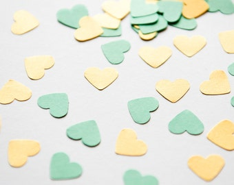 300 Mint Green and Gold Confetti. Mint green and gold heart confetti - wedding, baby shower, party decor - wedding confetti - Mint and gold