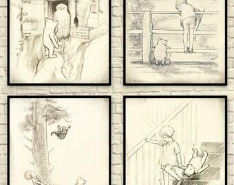 Custom set of Winnie the Pooh prints. Six 5x7 Classic Pooh Art Prints