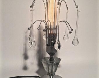 Beautiful Crystal Teardrop Boudoir Lamp