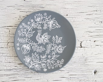 Grey white hand painted plate - Decorative plate - Wall hangings - Housewarming gift - Living room ideas