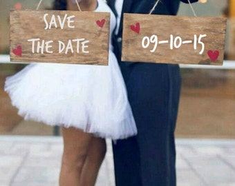 Save The Date Sign - ENGAGEMENT SIGNS, Engagement Photo Prop, Wooden Engagement Sign, Engagement Sign, Save The Date Prop