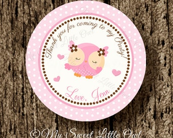 Owl party favor tag - pink owl cupcake topper - owl label - owl birthday party - owl printable - owl sticker - owl baby shower