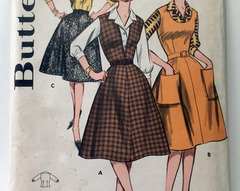 Butterick 9547 Vintage 1960s Sewing Pattern (Uncut and Factory Folded): Flared Skirt Jumper or Skirt and Collared Blouse, Size 14 (34-26-36)