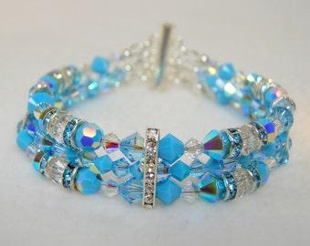 Turquoise Crystal 3 Strand Bracelet