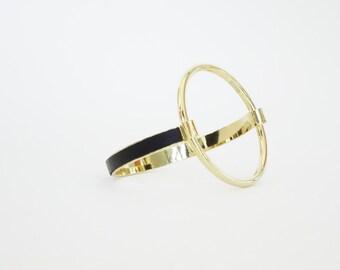 Bracelet Manchette AMMAN cercle, plaqué or et cuir
