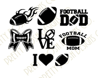 """Football """"7"""" SVG Collections-Football Mom Dad Football Mom Dad SVG digital Cutting File  for Cricut Silhouette SVG Downloadable File"""