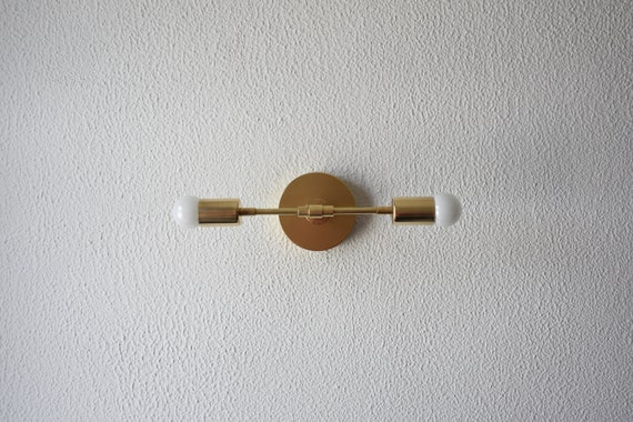 Modern Ridged Shade Bath Sconce 2 Light: Free Shipping Wall Sconce Vanity Gold Brass 2 Bulb Modern