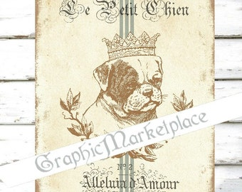 Pug Dog Chien Animals Animaux Carlin Large Image Instant Download Vintage Transfer Fabric digital collage sheet printable No. 1490