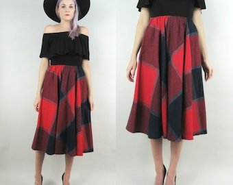 70s Wool High Waisted Full Skirt