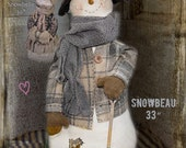 "Snowman Pattern: Snowbeau - 33"" Doll Pattern & Accessory Pak or Set by Sparkles n Spirit"