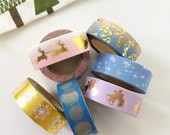Gold Foil Christmas Washi Tape Snowflake Bow Reindeer Jingle Bells