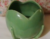 Nelson McCoy Vintage 1940 Green Tulip Footed Planter