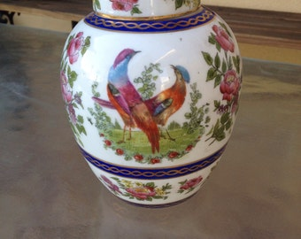 Chinese Ginger Jar, Chinoiserie Jar, Birds Ginger Jar, Oriental Jar, Asian Floral Jar, Porcelain Lidded Ginger Jar, Hand Painted Chinese Jar