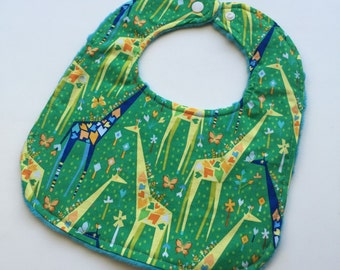 Standing Tall Giraffes on Grass - Reversible Minky Bibs -Teal Minky - Boutique -Baby/Toddler - Green and Blue