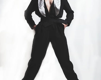 1980's Tuxedo Jumpsuit// 1980's Jumpsuit// Vintage Jumpsuit