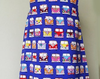 Campervan clothing, blue pinafore, READY to post, age 5, girls pinafore, spring dress, kids clothing, uk