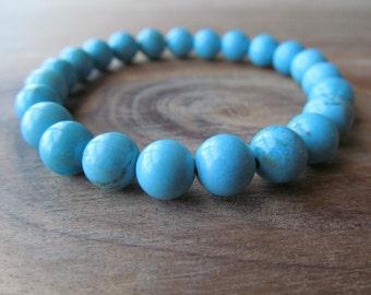 Turquoise Bracelet, Womens or Mens Beaded Bracelet, Stacking Bracelet, Mala Bracelet, Layering Stretch Bracelet, Yoga Jewelry, Blue Bracelet