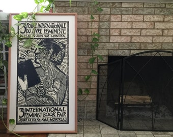 3rd International Feminist Book Fair Large Print Poster 1988 Montreal - French English WoC Writers Theorists