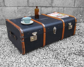 1920s Black Steamer Trunk Chest - Coffee Table Storage Box