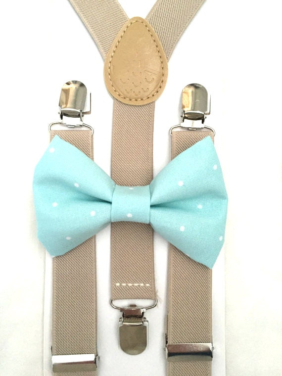 Tan Suspenders and Mint Polka Dot Bow Tie