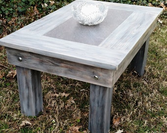 "Coffee Table-Wood and Grey Tile-Grey Barnwood Finish-Handmade-Quick Custom Available-Rustic Contemporary-Cabin-Beach-Barnwood-36""x24""x18"""