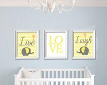 Live Love Laugh Elephant Printable Nursery Wall Art Yellow Grey chevron wall Decor Playroom Baby Shower gift INSTANT DOWNLOAD
